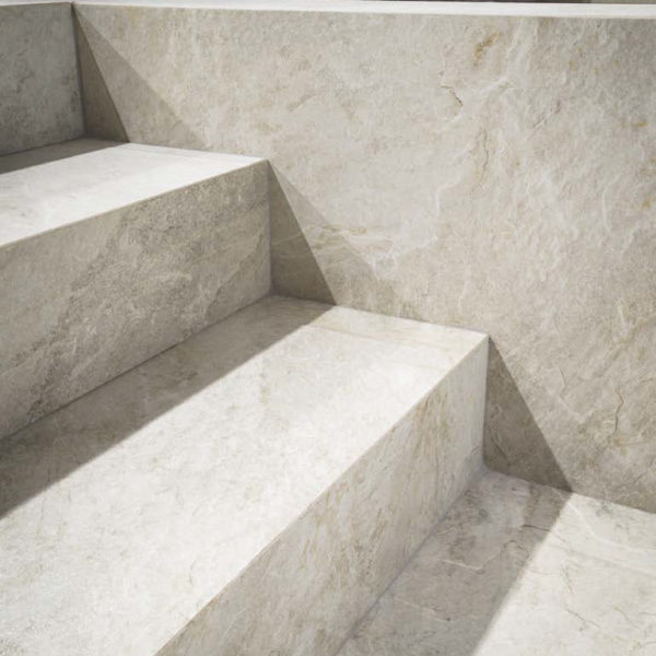 Silas White Porcelain Paver Stairway - HDG Building Materials