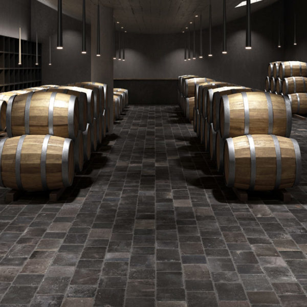 Wine-Room-Floor-with-30x30-cm-Namo-Black-Porcelain-Pavers - HDG Building Materials