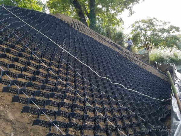Cabled and Spread SlopeGrid Installed on Steep Slope
