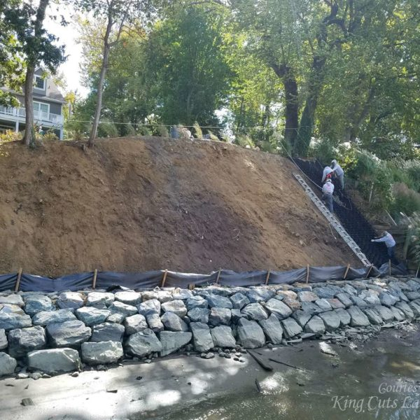 Progress Install Picture for SlopeGrid Retaining Wall