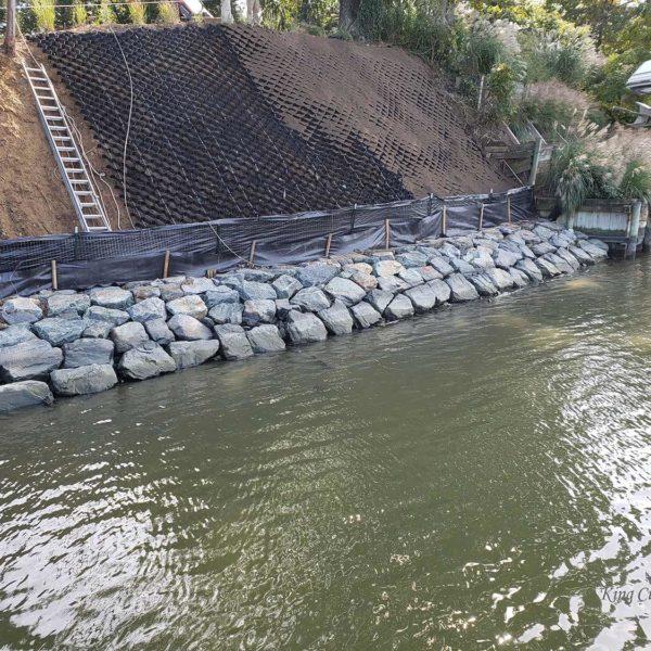 Progress on SlopeGrid Retaining Wall Installation