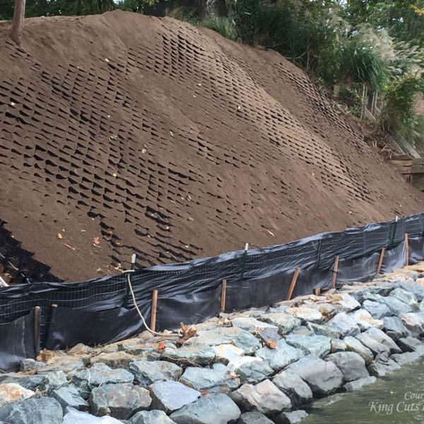 SlopeGrid Geosynthetic Material on Steep Slope Filled with Soil