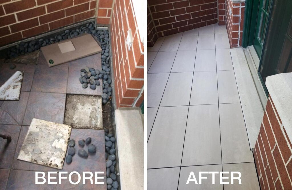 Residential Terrace Before and After Makeover with Buzon Pedestals and Porcelain Pavers