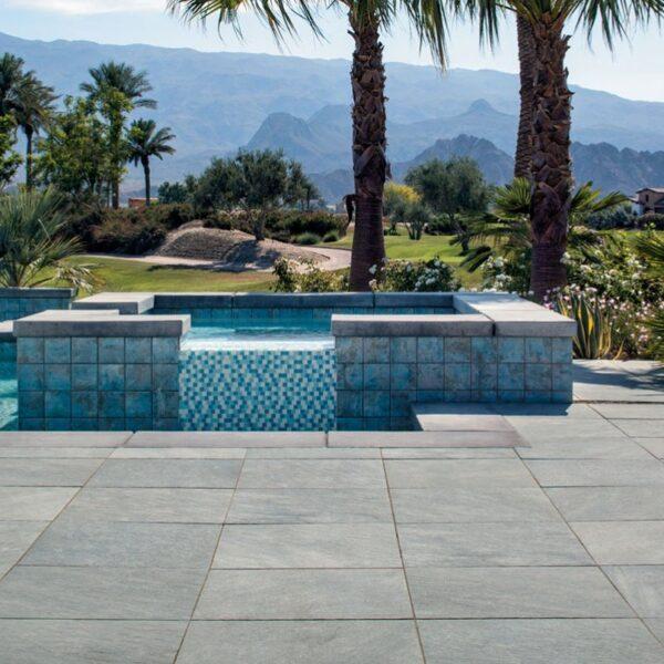 Sierra Grey Porcelain Paver in Pool Terrace for Landscape Design - HDG Building Materials