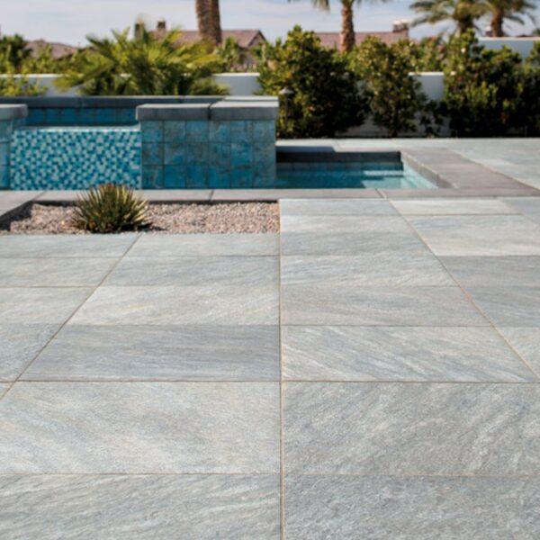 Sierra Grey Porcelain Paver in Terrace for Landscape Design - HDG Building Materials
