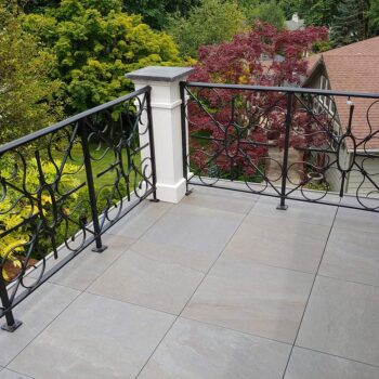 Corner Edge Detail on Pietra Stone Look Porcelain Paver Balcony - HDG Building Materials