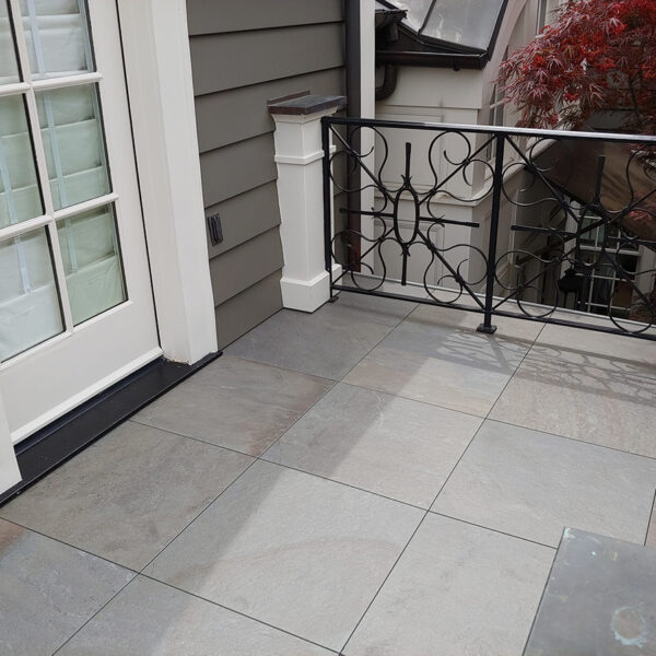 Door Threshold Transition to Stone Look Porcelain Paver Balcony - HDG Building Materials