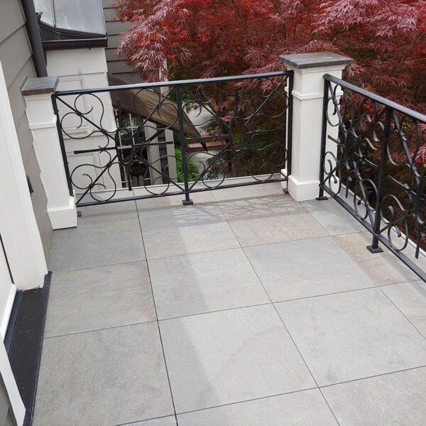 Sunlight and Shading Detail on HDG Kaia Blue Porcelain Paver on Balcony - HDG Building Materials
