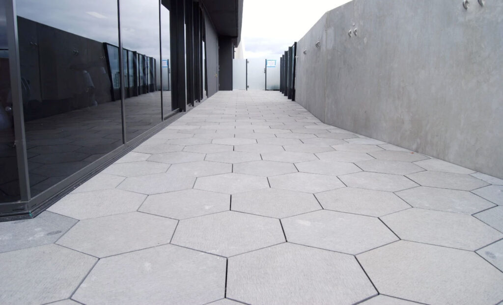 Honeycomb Shaped Pavers with Buzon Circular Spacer Tabs - HDG Building Materials redux