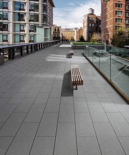 Metro Grey Concrete Look Porcelain Pavers in Pedestrian Promenade