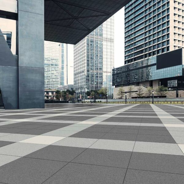 Metro Light Grey Porcelain Pavers combined with Metro Grey and Metro Ivory Pavers in Urban Pedestrian Plaza