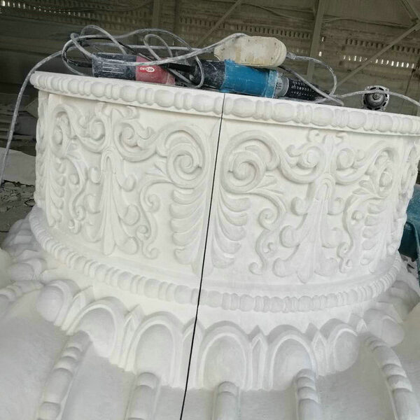 Large Sectioned Ornately Finished Capital for Limestone Column