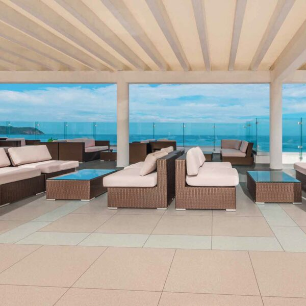 Metro Ivory and Metro Tan Porcelain Pavers on Rooftop Waterfront Terrace