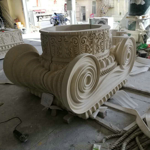 Perspective View Ornate Ionic Style Capital for Natural Limestone Column