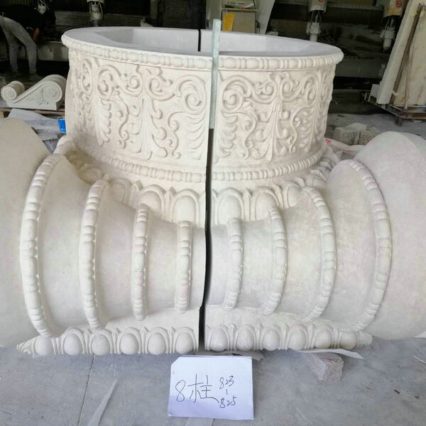 Side View Ornate Ionic Style Capital for Natural Limestone Column