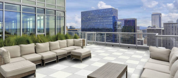 60x60cm Terra Cream Porcelain Pavers in Rooftop Lounge Area