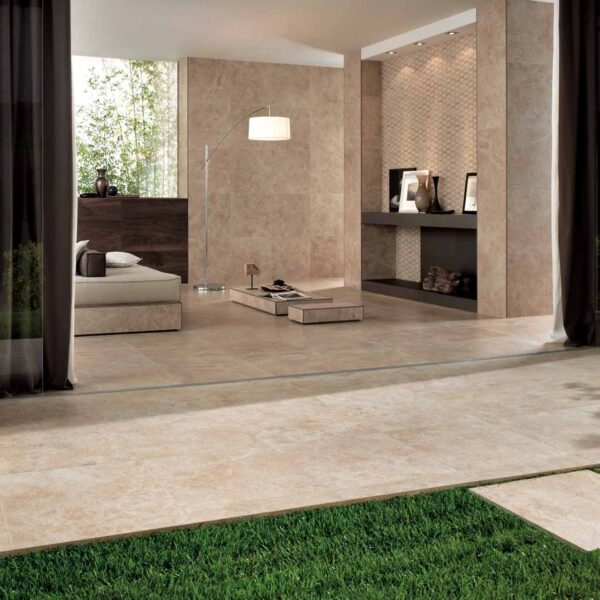 Calcare Beige Porcelain Pavers Inside Floor and Walls and Outside Patio and Facade