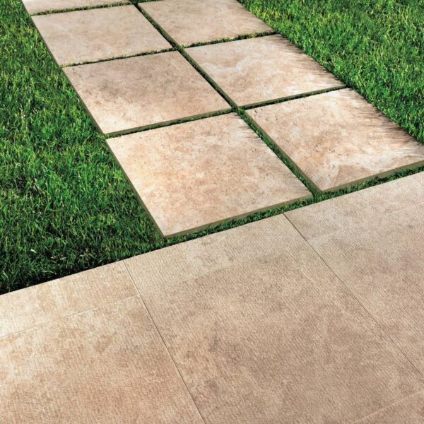 Calcare Beige Porcelain Pavers Installed Over Grass