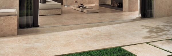 Calcare Beige Porcelain Pavers Transition from Indoors to Outdoor Patio Terrace