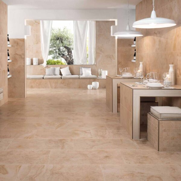 Complementary Interior Design Using Calcare Beige Porcelain Pavers