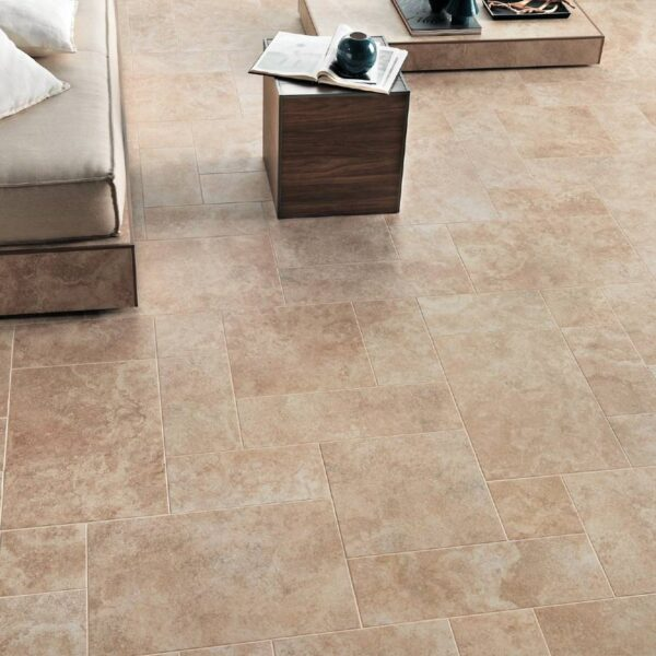 Indoor Living Area with Porcelain Tile Complementary to Calcare Beige Outdoor Porcelain Pavers