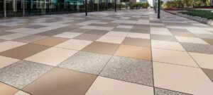 Metro Rust Porcelain Paver Mixed with Metro Brown Metro Tan and Terra Gravel