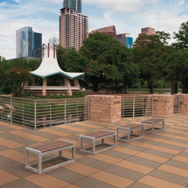 Metro Rust and Metro Brown Porcelain Pavers in Urban Park Plaza