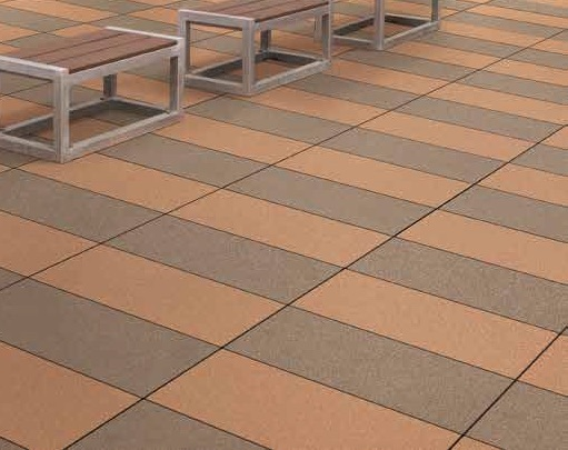 Metro Rust and Metro Brown Porcelain Pavers in Urban Park Plaza Pattern