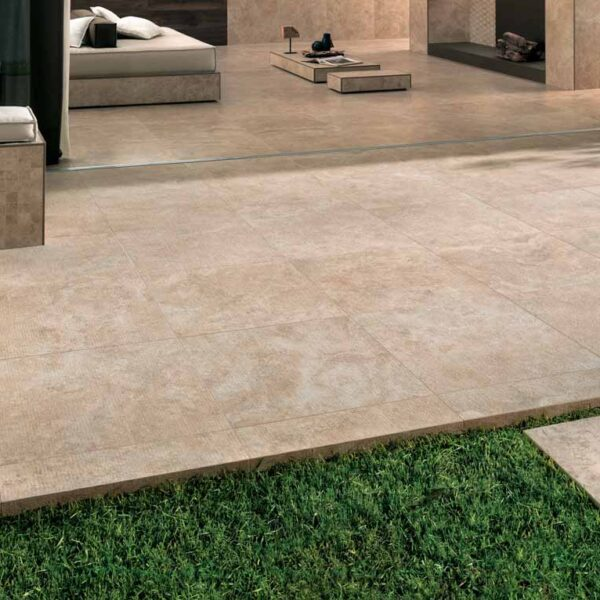Outdoor Patio Application with Calcare Beige Porcelain Pavers