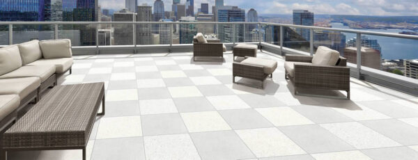 Terra Grey Porcelain Pavers on Rooftop Deck