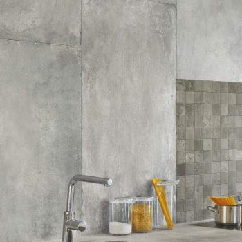 30x120 cm Concrete Finish Porcelain Paver Vertical Installation