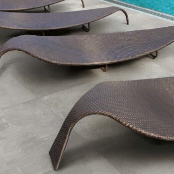 Cemento Ash Textured Grit Concrete Finish Porcelain Pavers in Pool Surround