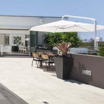 Cemento Chalk Porcelain Paver on Terrace Design