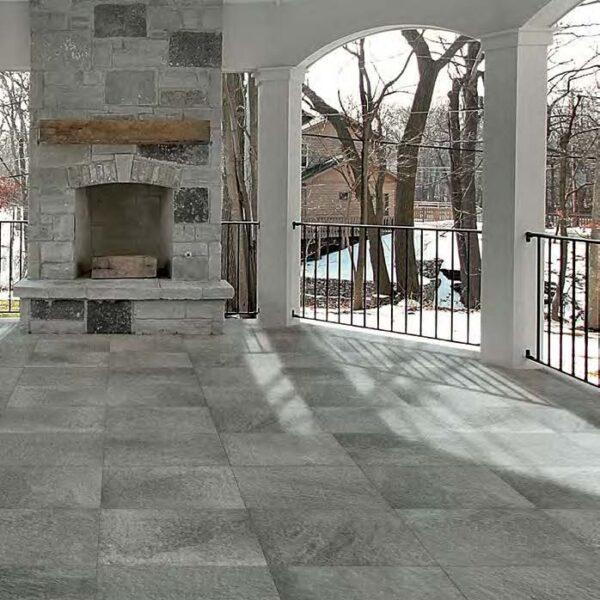Fusa Ash Porcelain Pavers Match Natural Stone Fireplace