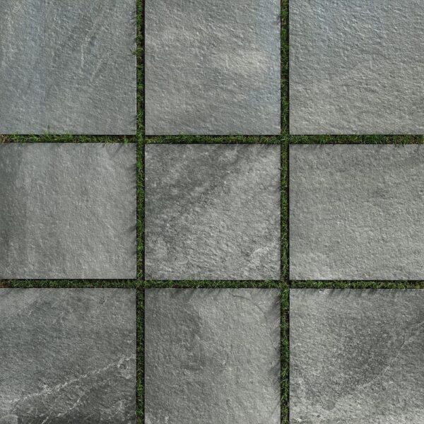 Fusa Grey 60x60 cm Porcelain Pavers Installed Over Grass