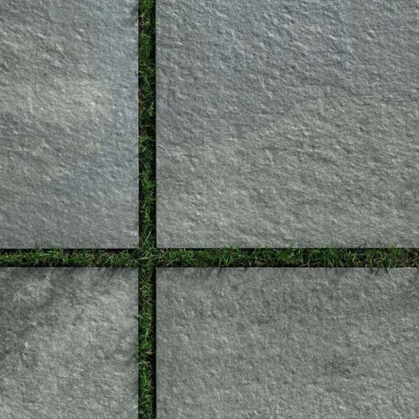 Fusa Grey Porcelain Pavers Installed on Grass