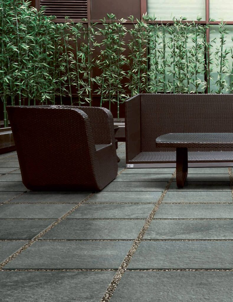 Fusa Grey Stone Look Porcelain with Wicker and Bamboo