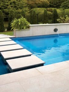 Fusa Luna 24x24 in Porcelain Pavers in Pool Bride and Decking Application