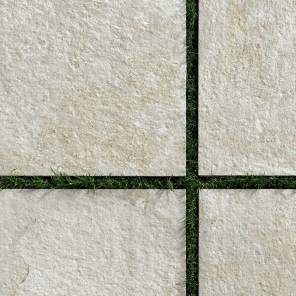 Fusa White Porcelain Pavers Installed Over Grass