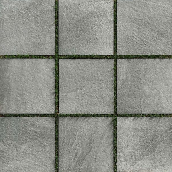 Layout of Fusa Ash Porcelain Pavers Over Grass