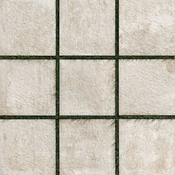 Layout of Fusa White Porcelain Pavers Over Grass