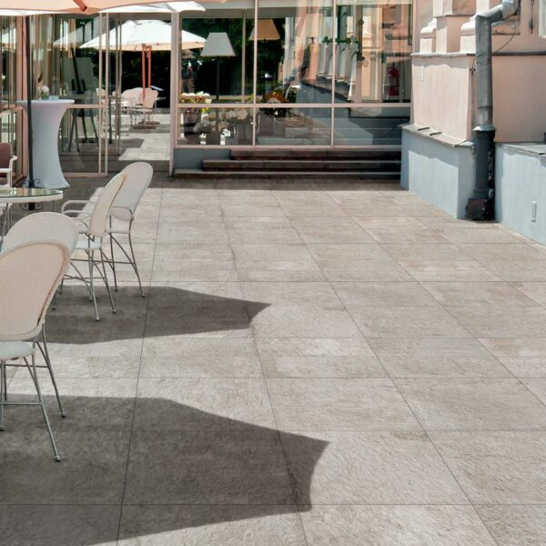 Outdoor Dining Area with 30x60 and 60x60 cm Fusa White Porcelain Pavers