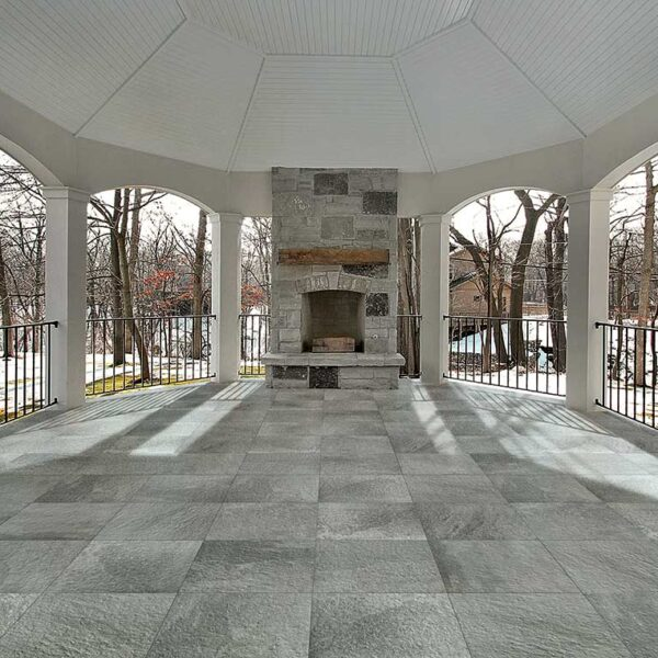 Outdoor Gathering Hall with Fireplace and Fusa Ash Porcelain Pavers