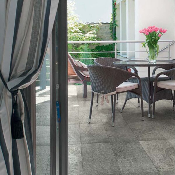 Outdoor Terrace with Fusa Ash Porcelain Pavers 30x60 cm 12x24 in 20 mm Thick Close