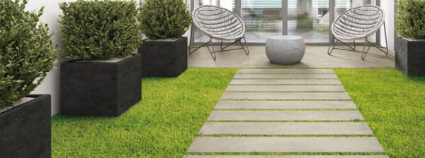 Patio and Pathway using Cemento Greigio Porcelain Plank Pavers feature