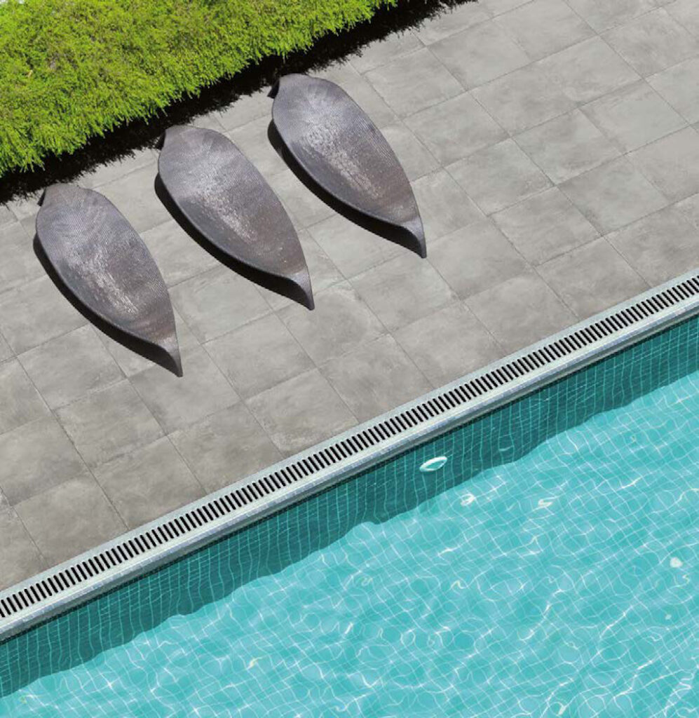 Pool Surround Decking with 24x24 inch Cemento Ash Textured Concrete Finish Porcelain Pavers 1024x