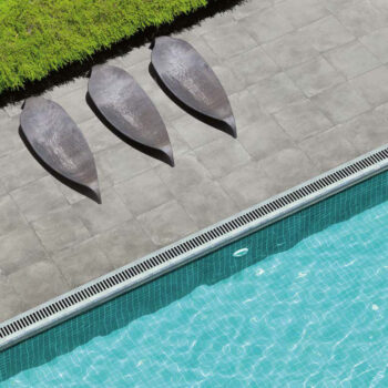 Pool Surround Decking with 24x24 inch Cemento Ash Textured Concrete Finish Porcelain Pavers