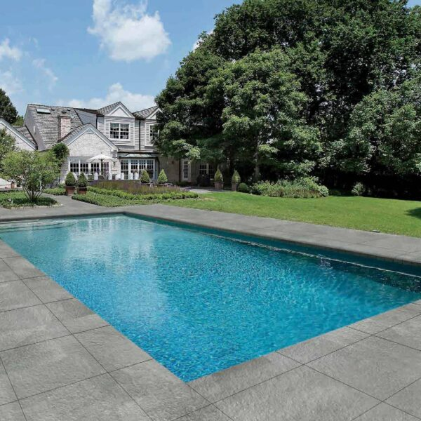 Pool Surround with Fusa Ash 60x60 cm Porcelain Paver Feature