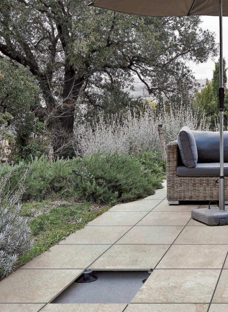 Raised Terrace Application with Porcelain Pavers over Buzon Pedestals