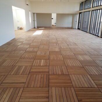 Black Locust Deck Tiles Installed in Herringbone Pattern